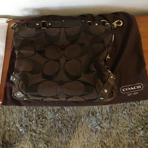 Chocolate brown and gold coach bag